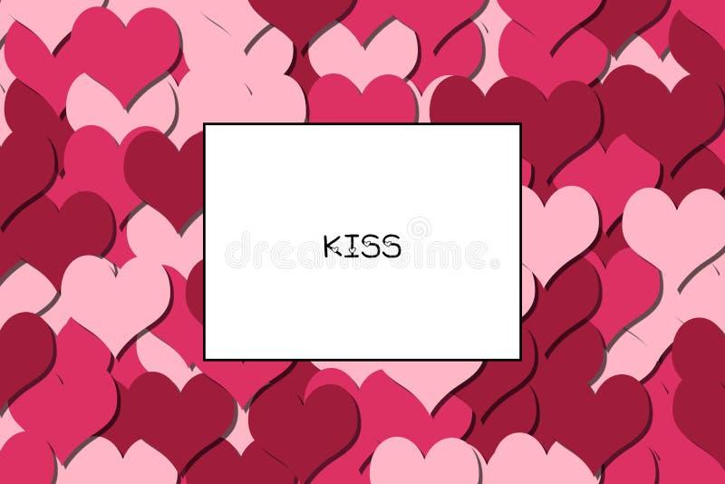 De kaart van de KUSliefde met Cherry Red-harten als achtergrond stock illustratie