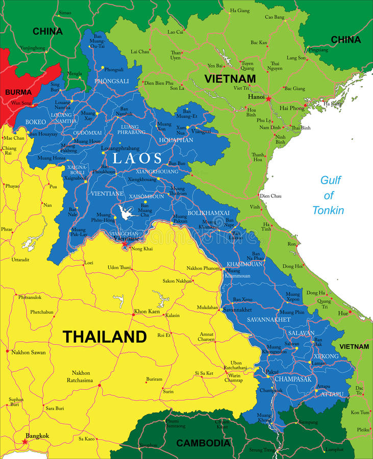De kaart van Laos stock illustratie