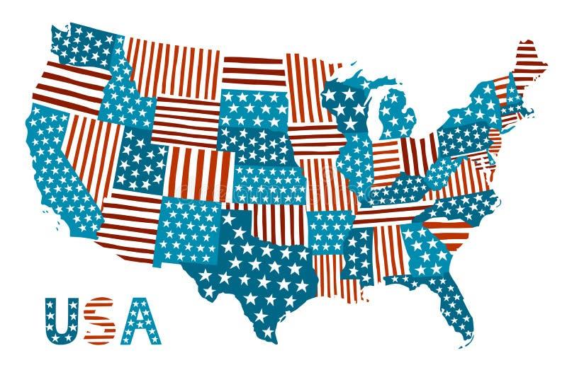 De kaart van de lapwerkstijl van de Verenigde Staten stock illustratie
