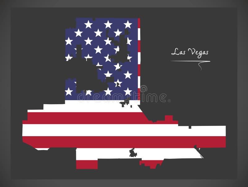 De kaart van Las Vegas Nevada met Amerikaanse nationale vlagillustratie royalty-vrije illustratie