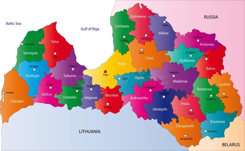 De kaart van Letland stock illustratie