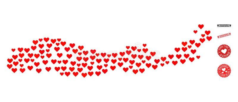 De Kaart van de liefdecollage van de Zegels van Indonesië - van het Eiland en van Grunge van Flores voor Valentijnskaarten royalty-vrije illustratie