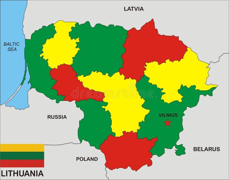 De kaart van Litouwen royalty-vrije illustratie