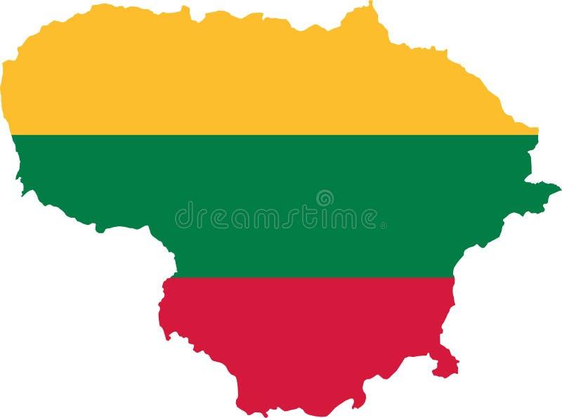 De kaart van Litouwen met vlag royalty-vrije illustratie