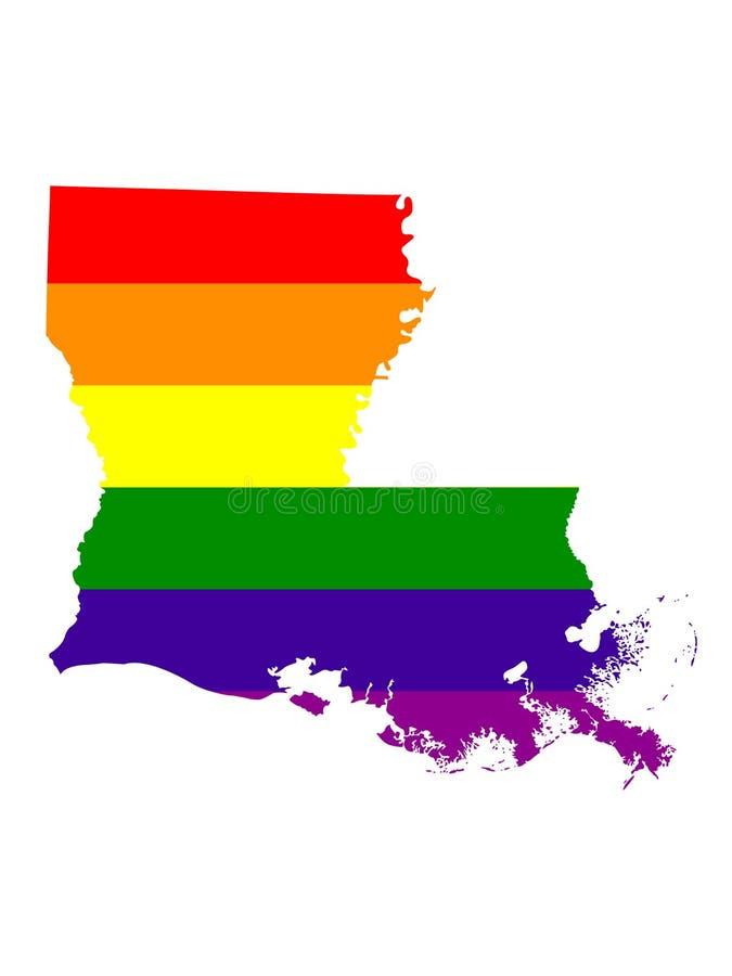 De kaart van Louisiane met LGBT-vlag vector illustratie