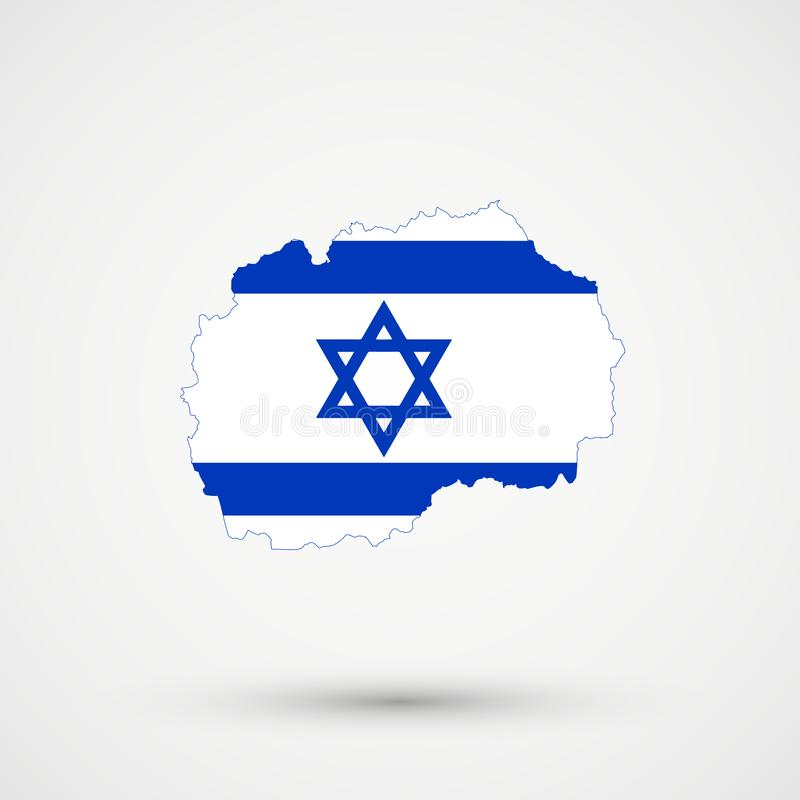 De kaart van Macedonië in de vlagkleuren van Israël, editable vector stock illustratie
