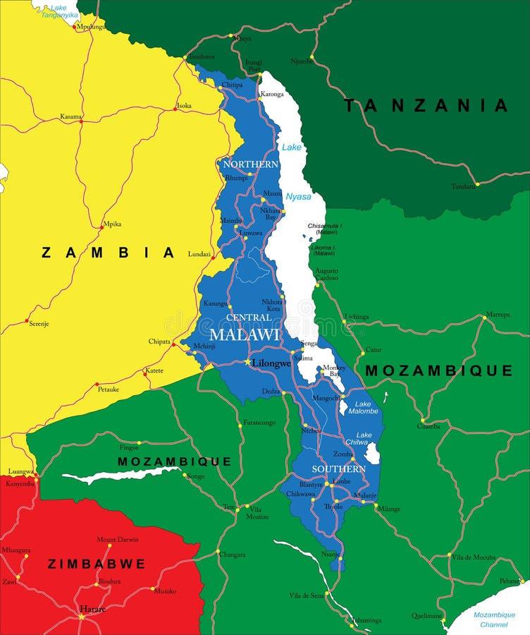De kaart van Malawi royalty-vrije illustratie