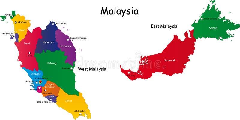 De kaart van Maleisië stock illustratie