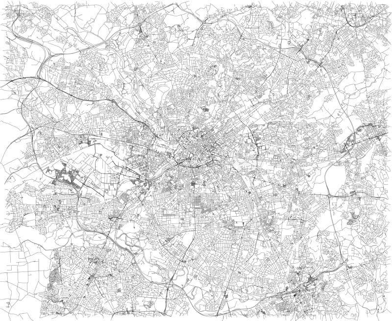 De kaart van Manchester, satellietmening, stad, Engeland Stratenmening Het Verenigd Koninkrijk stock illustratie