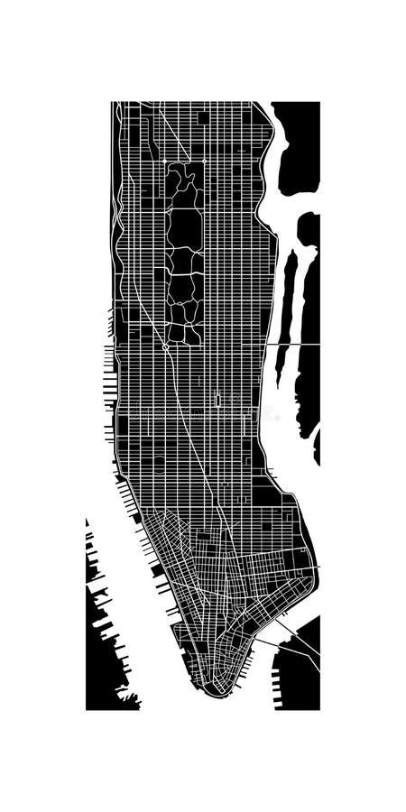 De kaart van Manhattan stock illustratie