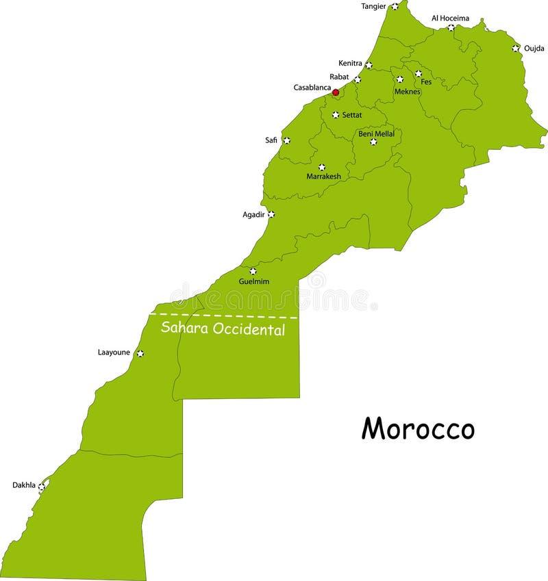 De kaart van Marokko royalty-vrije illustratie