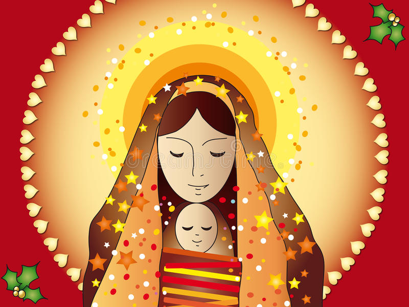 De kaart van Mary en van Jesus stock illustratie