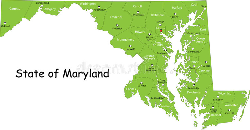 De kaart van Maryland (de V.S.) royalty-vrije illustratie
