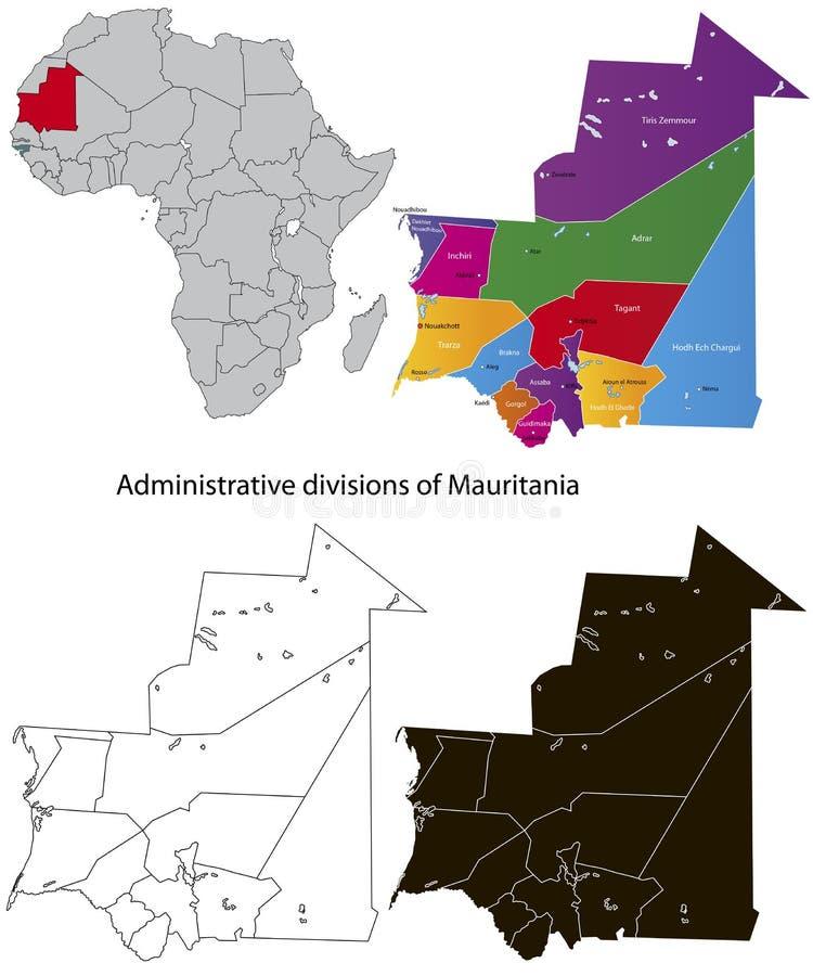 De kaart van Mauretanië royalty-vrije illustratie