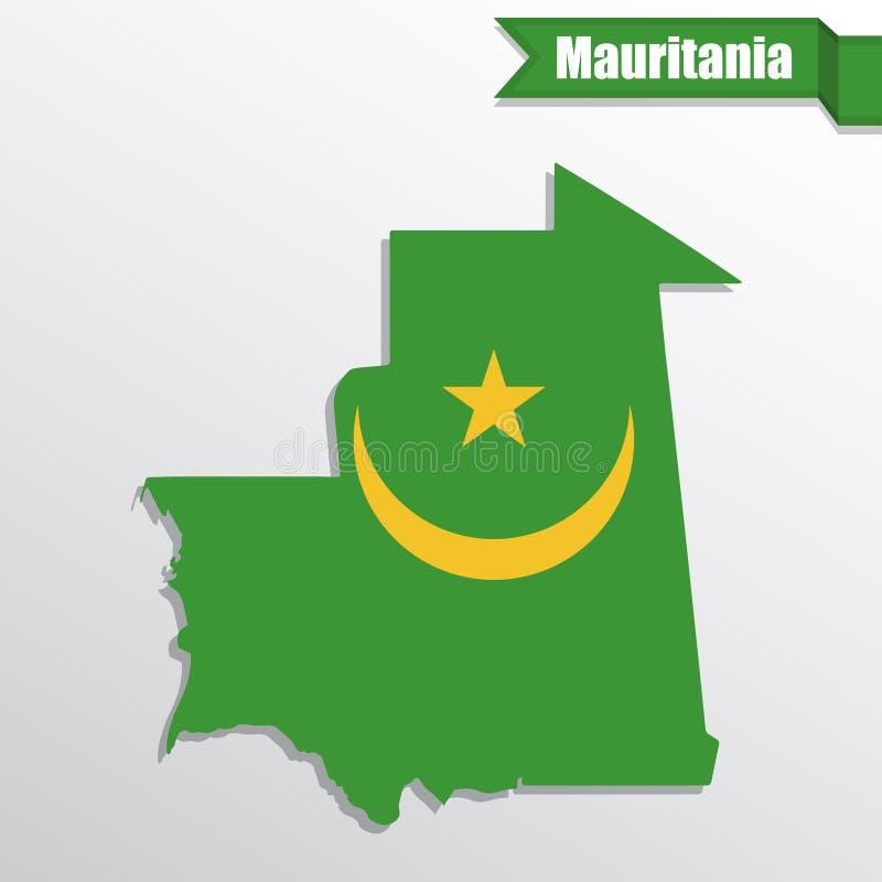 De kaart van Mauretanië met vlagbinnenkant en lint vector illustratie