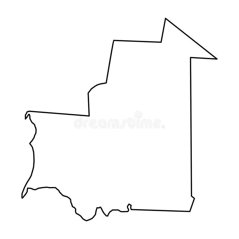 De kaart van Mauretanië van zwarte contourkrommen op witte achtergrond van ve vector illustratie