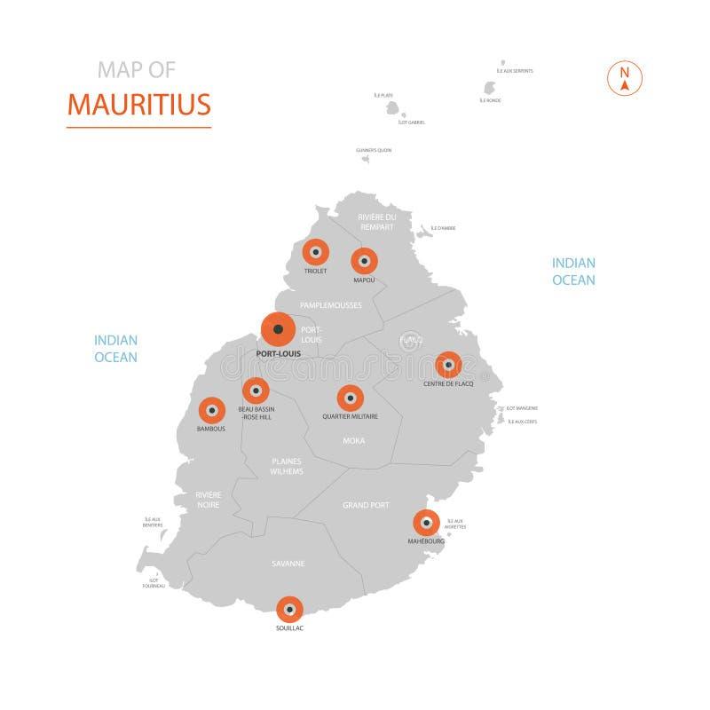 De kaart van Mauritius met administratieve afdelingen vector illustratie