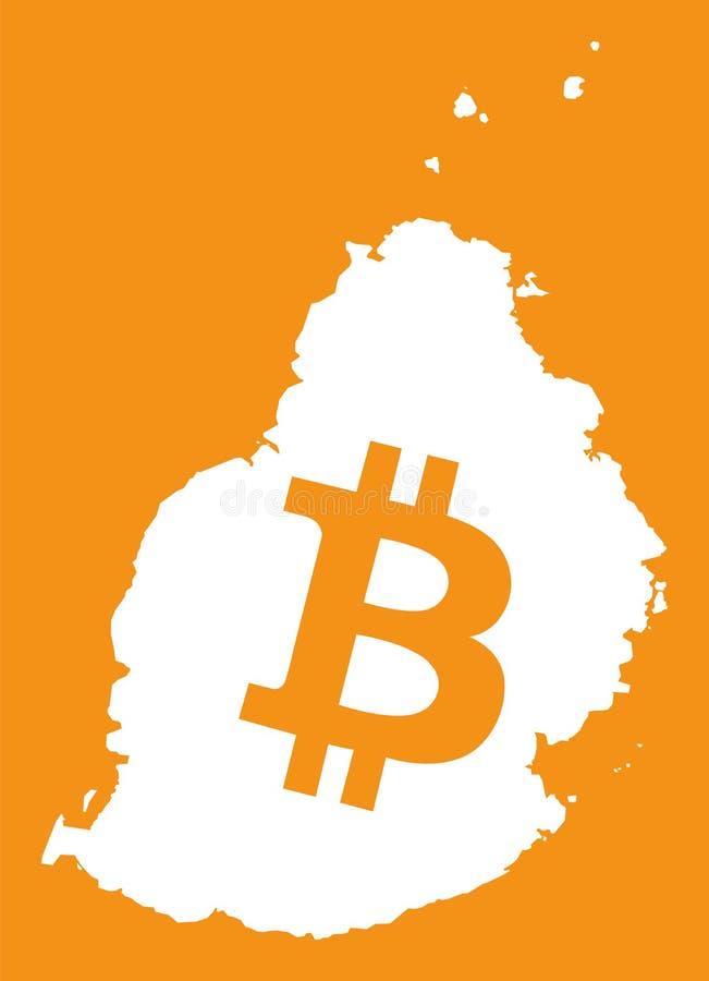De kaart van Mauritius met bitcoincrypto de illustratie van het muntsymbool stock illustratie