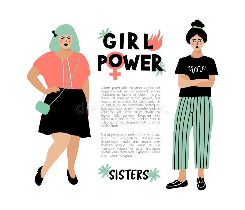 De kaart van de meisjesmacht, Feministische affiche Modieuze jonge vrouwen, plaats voor tekst Hipsterkarakters, Vector vlak ontwe vector illustratie