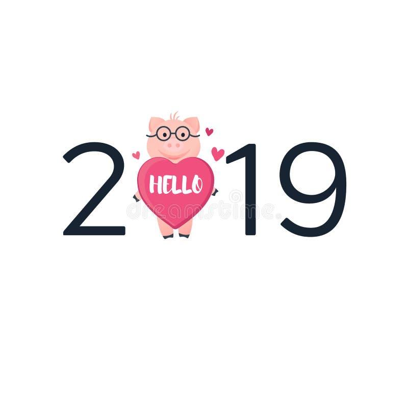 de kaart van 2019 met varken Beeldverhaal roze biggetje met hart royalty-vrije illustratie
