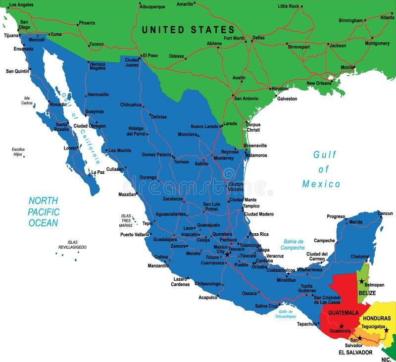 De kaart van Mexico royalty-vrije illustratie