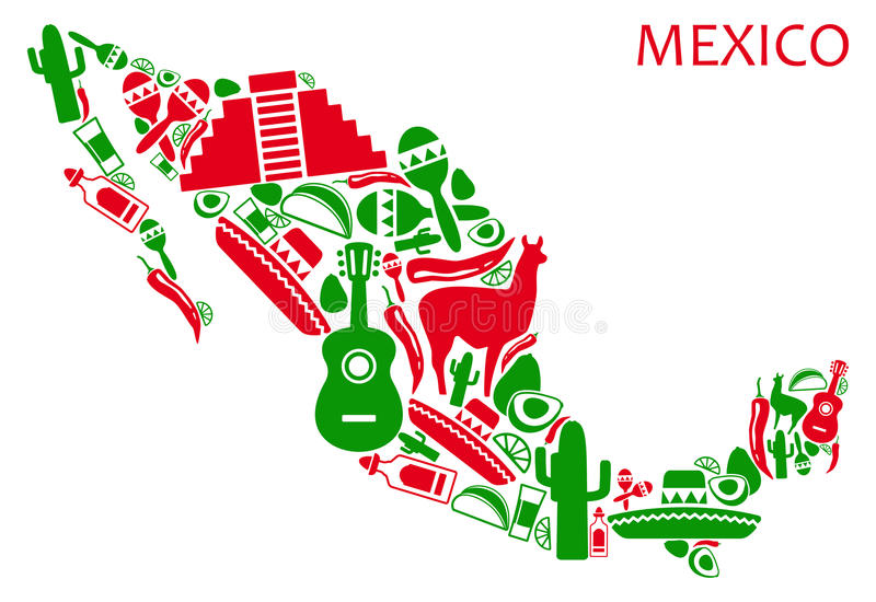De kaart van Mexico stock illustratie