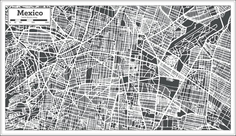 De Kaart van Mexico-City in Retro Stijl Zwart-witte vectorillustratie stock illustratie
