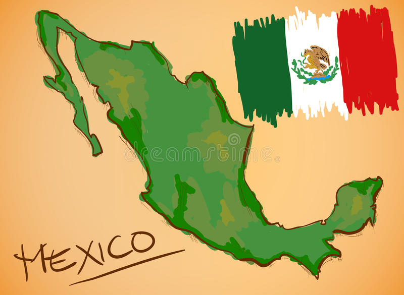 De Kaart van Mexico en Nationale Vlagvector stock illustratie