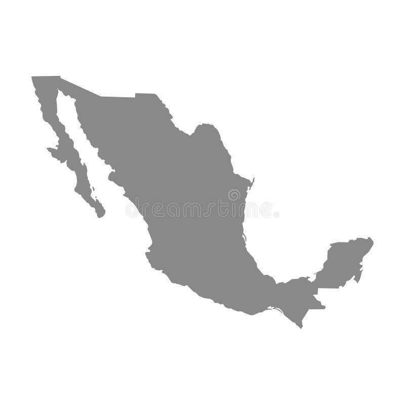 De kaart van Mexico Hoog gedetailleerde kaart van Mexico op witte achtergrond Vector illustratie Eps 10 stock illustratie