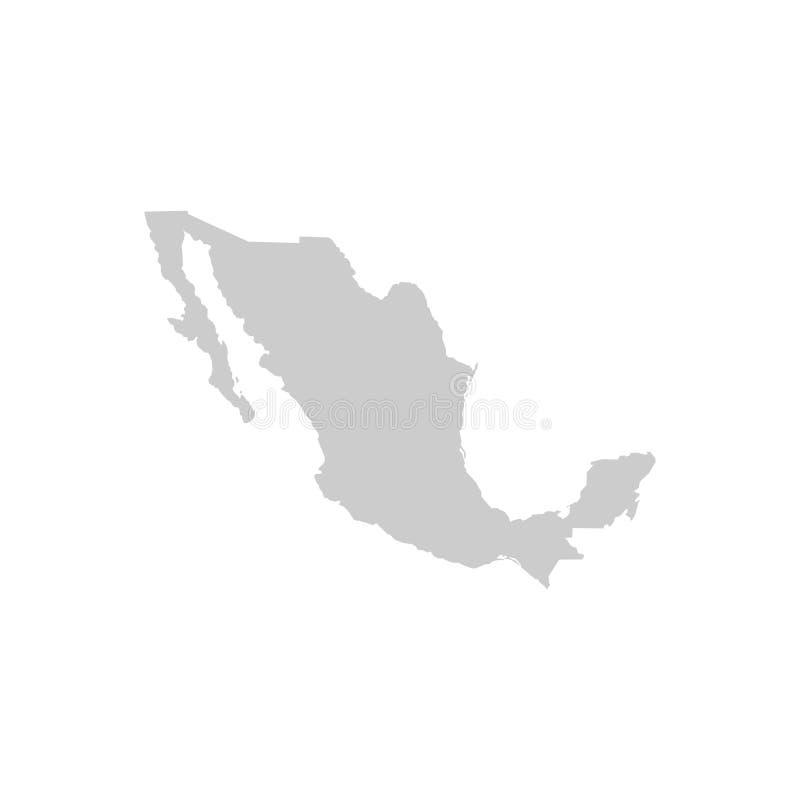 De kaart van Mexico Hoog gedetailleerde kaart van Mexico op witte achtergrond Vector illustratie voor uw zoet water design Grijze royalty-vrije illustratie