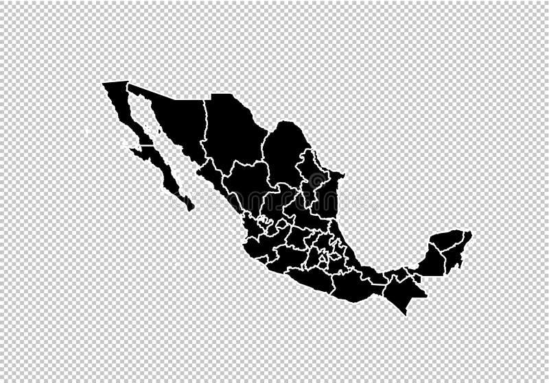 De kaart van Mexico - hoog gedetailleerde Zwarte kaart met provincies/gebieden/staten van Mexico de kaart van Mexico op transpara stock illustratie