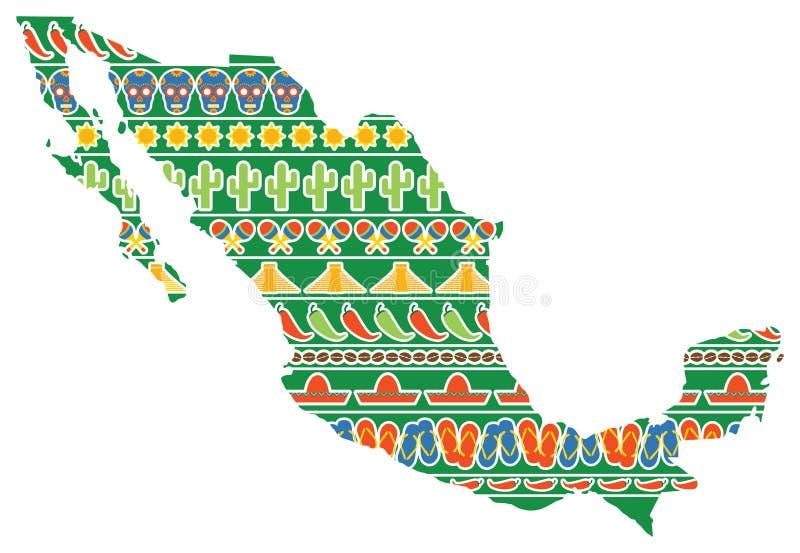 De Kaart van Mexico met Pictogrammen stock illustratie
