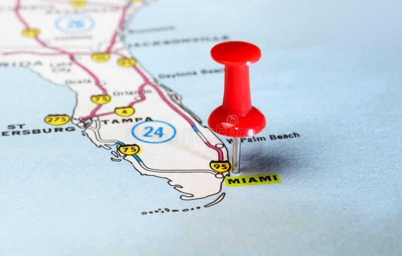 De kaart van Miami de V.S. royalty-vrije stock afbeelding