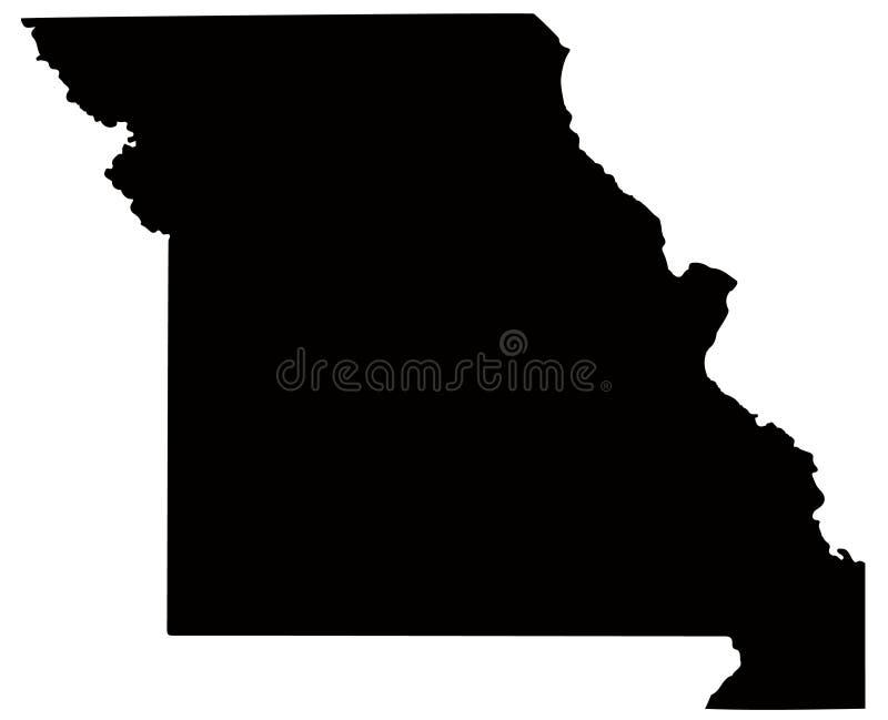 De kaart van Missouri - staat in de Verenigde Staten van Amerika royalty-vrije illustratie