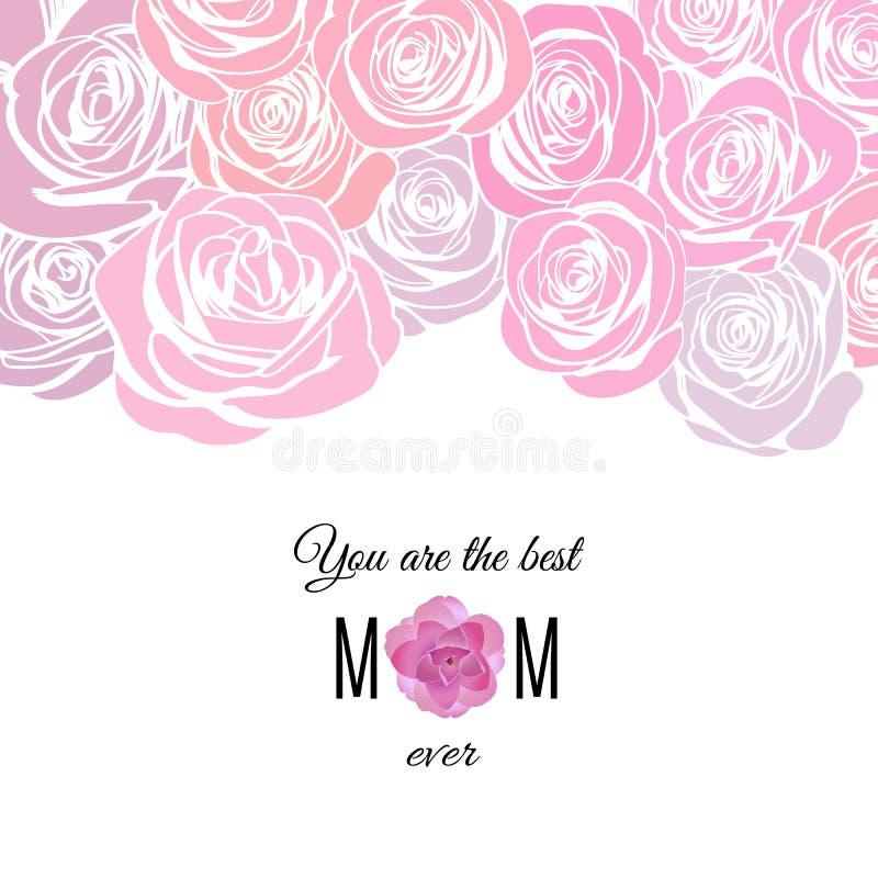 De kaart van de Moederdaggroet met patroon met roze rooskleurige rozen royalty-vrije illustratie