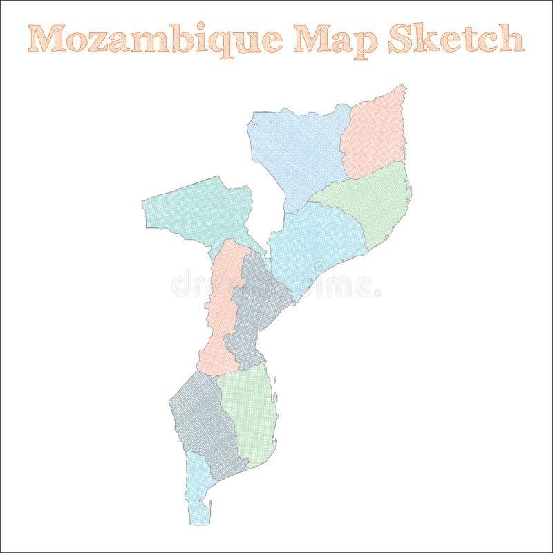 De kaart van Mozambique vector illustratie
