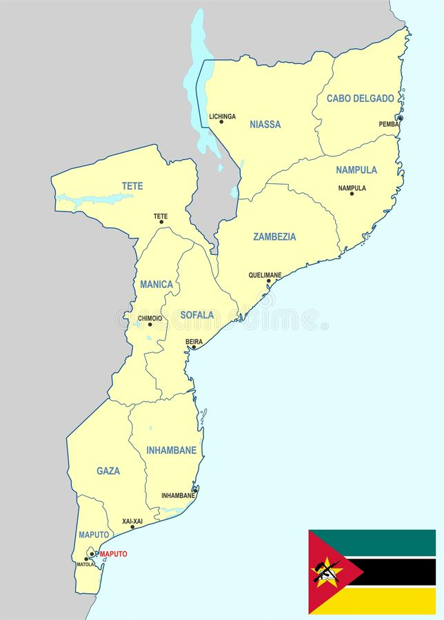 De kaart van Mozambique royalty-vrije illustratie