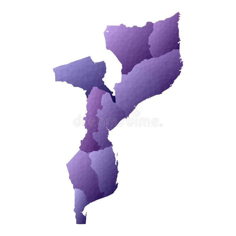 De kaart van Mozambique stock illustratie