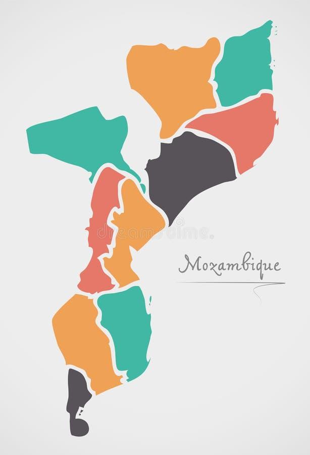 De Kaart van Mozambique met staten en moderne ronde vormen stock illustratie
