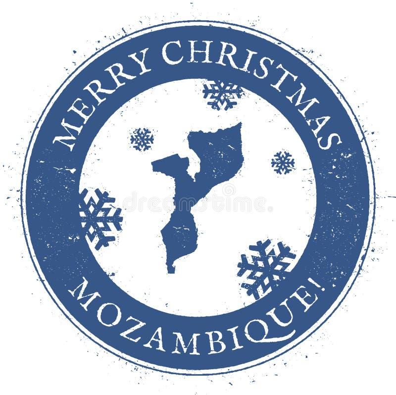 De kaart van Mozambique Uitstekende Vrolijke Kerstmis royalty-vrije illustratie