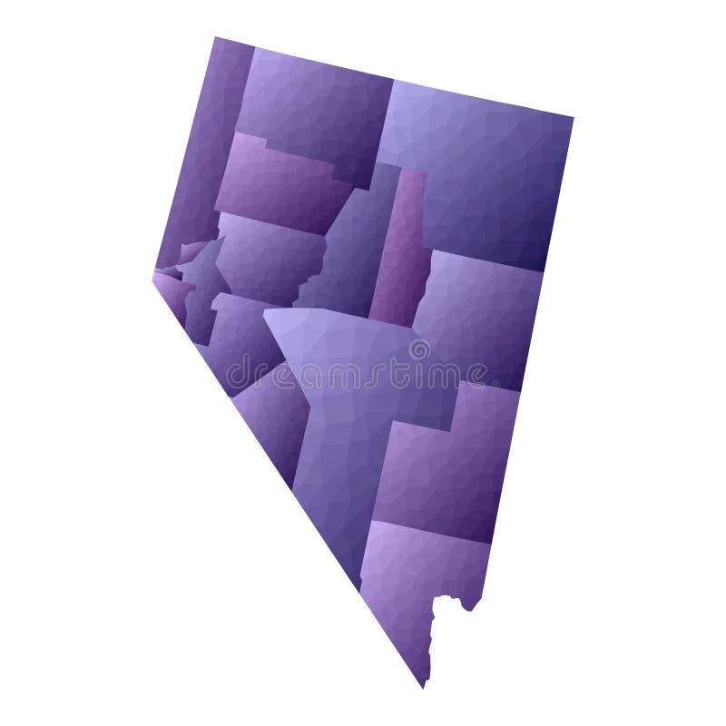 De kaart van Nevada royalty-vrije illustratie