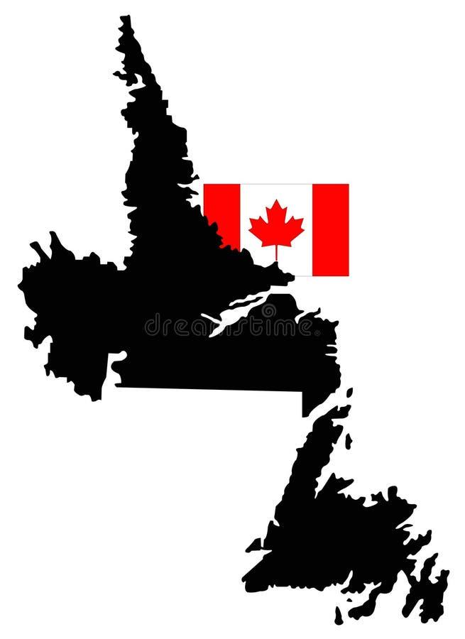 De kaart van Newfoundland en van Labrador met Canadese vlag - de oostelijkste provincie van Canada vector illustratie