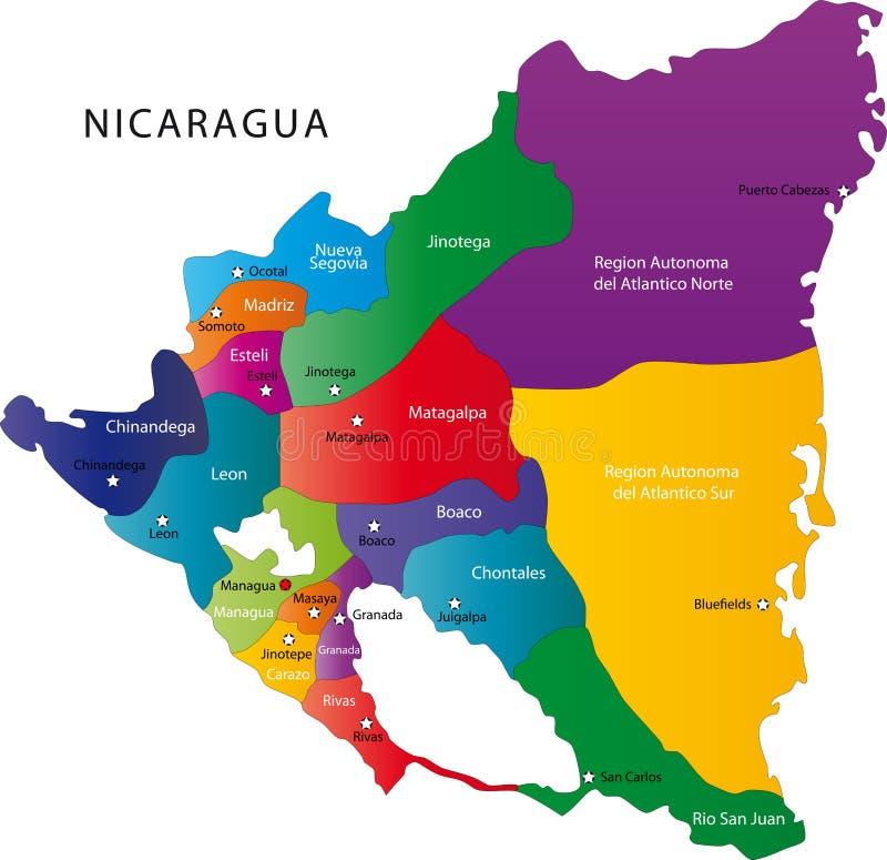 De kaart van Nicaragua vector illustratie