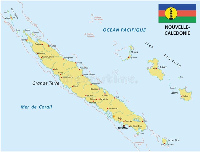 De kaart van Nieuw-Caledonië met vlag