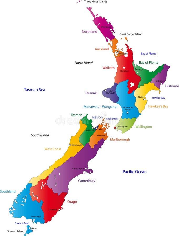De kaart van Nieuw Zeeland