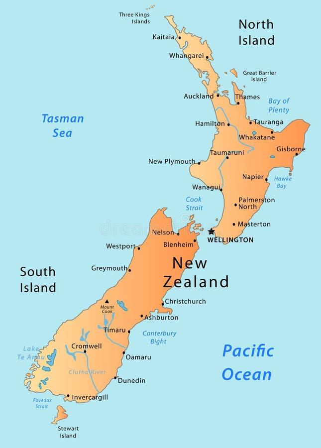De kaart van Nieuw Zeeland stock illustratie