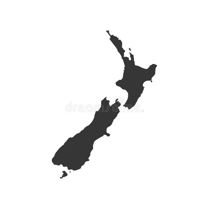 De kaart van Nieuw Zeeland vector illustratie