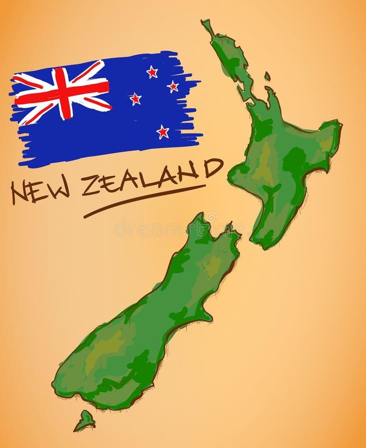 De Kaart van Nieuw Zeeland en Nationale Vlagvector stock illustratie