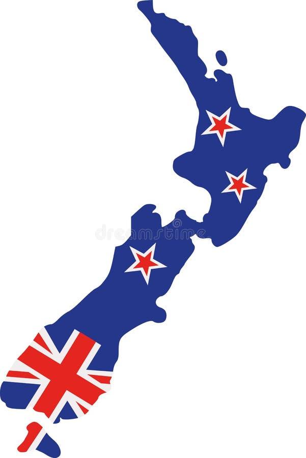 De kaart van Nieuw Zeeland met vlag vector illustratie
