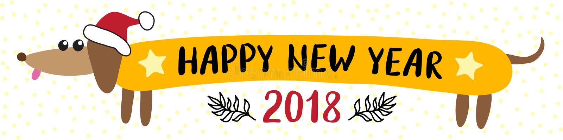 De kaart van de nieuwjaar 2018 groet met tekkelhond stock illustratie